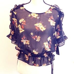 Free Press NWT Black Floral Sheer Top size L